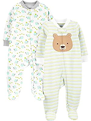 Simple Joys by Carter's Baby Neutral 2-Pack Cotton Footed Sleep and Play, Bear Hugs, 0-3 Months