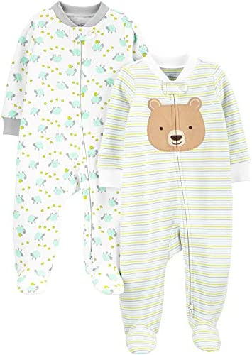 Simple Joys by Carter s Baby Neutral 2 Pack Cotton Footed Sleep and Play Bear Hugs 0 3 Months product image