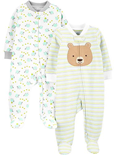 Simple Joys by Carter's Neutral 2-Pack Cotton Footed Sleep Play Infant-and-Toddler-Bodysuit-Footies, Bär/Schildkröte, 0-3 Months