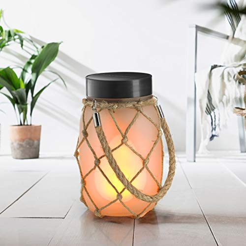 Auraglow USB & Solar Powered Outdoor & Indoor Fire Flame Mason Glass Jar Hanging Rope Lantern LED Light Table Lamp