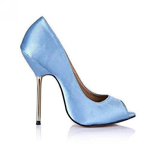 Nachtleven de schoenen met hoge hakken rode blauwe visschoenen