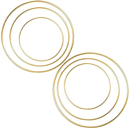 6 Stück 20cm+25cm+30cm Metallring Makramee Ringe Gold Mobile Ring Drahtring Floral Hoops Traumfänger Ring zum Basteln für Traumfänger, Floristik,hochzeitsdeko,Wandbehänge,Advents- oder Blumenkränzen