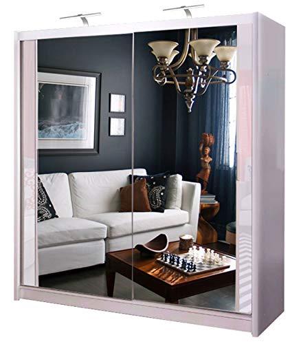 Double Mirror Sliding Door Chicago Wardrobe with 2 LED LIGHT 90/120/150/180/203cm (White, 120cm)