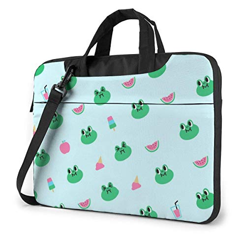 Laptop Messenger Bag Cute Frog Watermelon Shockproof Briefcase Sleeve Laptop Carrying Case Handbag with Strap