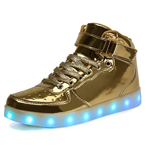 Voovix Unisex LED Shoes Light Up Shoes High Top Sneakers for Women Men gold42
