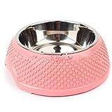 BKHJFKDGA Ciotola per Animali Domestici Pet Bowl da Tavolo all'Ingrosso con Acqua invisiosa Acciaio Sigillo Sole Giallo Giallo Giallo con Heart Pattern Cat Bowls