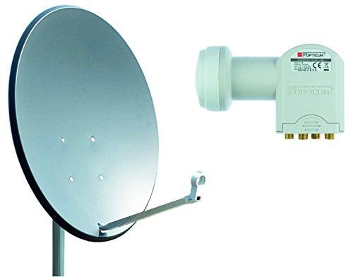 Opticum X80 Satelliten-Antenne (80 cm, Stahl - anthrazit, TÜV Zertifiziert, mit Quad LNB LQP-04H)