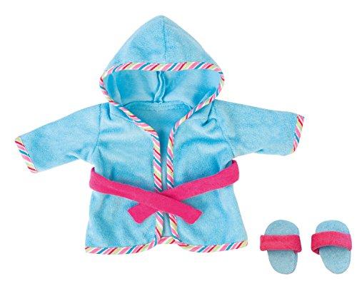 Bayer Design 8467300 - Bademantel mit Schlappen für Puppen, Circa 40-46 cm, blau