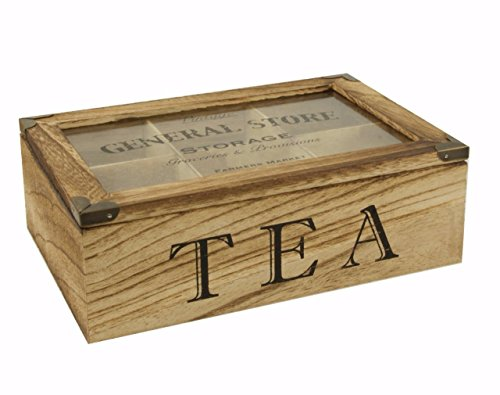 Natural Wood TEA Storage Box / TEA CADDY / Tea Bag Chest Display Box - 6 compartment with hinged see-through lid - Rustic / Vintage / Shabby Chic Style