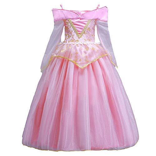 ELSA & ANNA® Princesa Disfraz Traje Parte Las Niñas Vestido Sleeping Beauty Vestido Aurora Vestido (Girls Princess Fancy Dress) ES-SLP01 (4-5 Años, Rosado)
