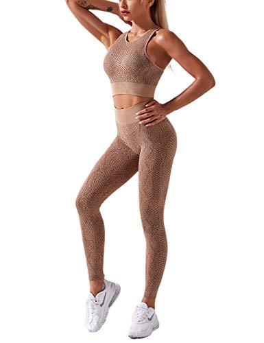 MuCoo Conjunto de ropa deportiva sin costuras para mujer, 2 piezas, cintura alta, estampado de serpiente, entrenamiento, correr, gimnasio, yoga, conjuntos