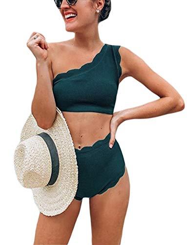 May Story Damen Bikini Set One Shoulder Badeanzug Asymmetrisch Gepolstert Bandeau Hohe Taille Zweiteilige Bademode (Large, Grün)