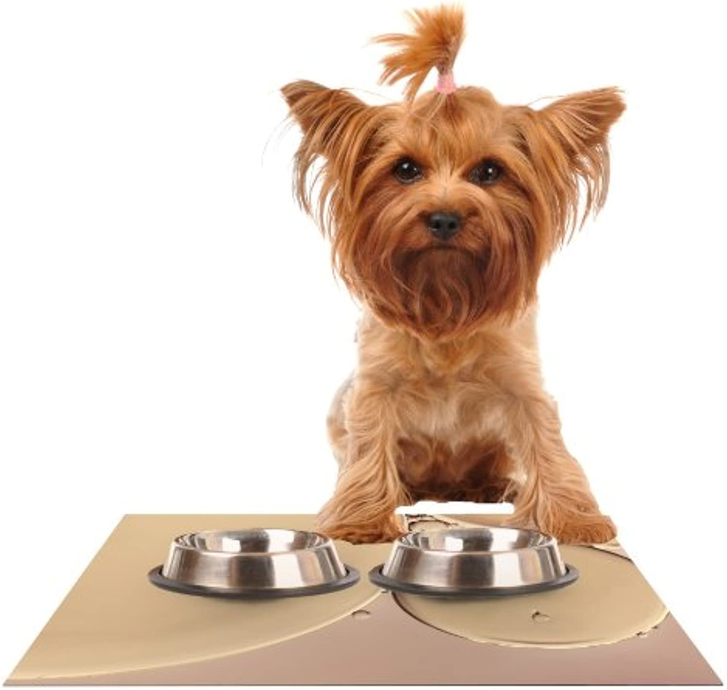 KESS InHouse Ingrid Beddoes A Touch of Pink  Tan Feeding Mat for Pet Bowl, 24 by 15Inch