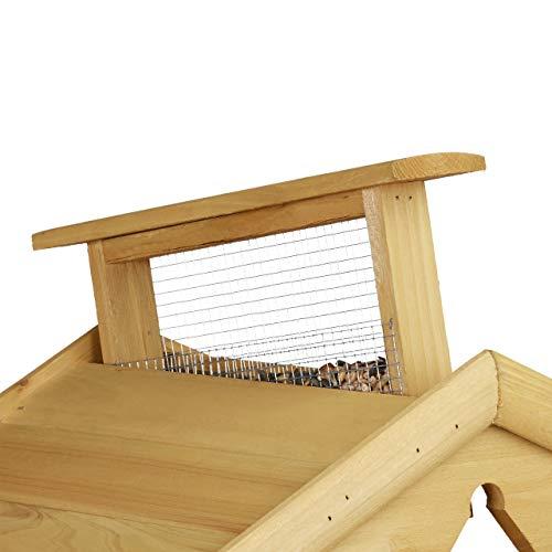 Relaxdays Vogelhaus mit Ständer, Aus Holz, Unbehandelt, Stehend, Vogelfutterhaus Bausatz, HBT: 117 x 50 x 50 cm, braun - 5