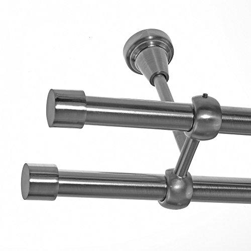 BASIT Gardinenstange Set Edelstahl Look Metall Ø 19mm zur Deckenbefestigung 2-lauf Kappe, Länge wählbar D28 E61 E61, Länge:240 cm