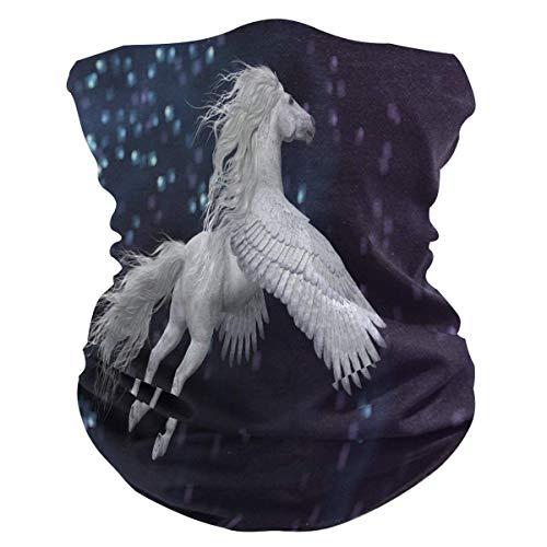 N/A Bandana para La Cabeza,Bufanda Blanca Animal del Cuello De Pegaso, Sombreros Elegantes De La Protección De La Cara para El Motorismo Adulto del Verano 25X50Cm