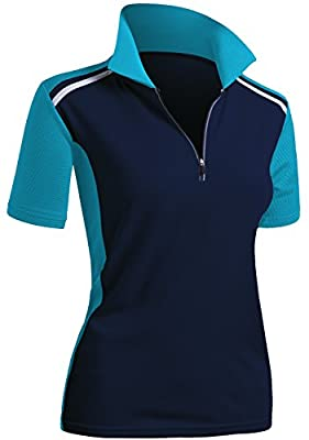 CLOVERY Quick Drying Active Wear Short Sleeve Zipup Polo Shirt Navyaqua US M/Tag M
