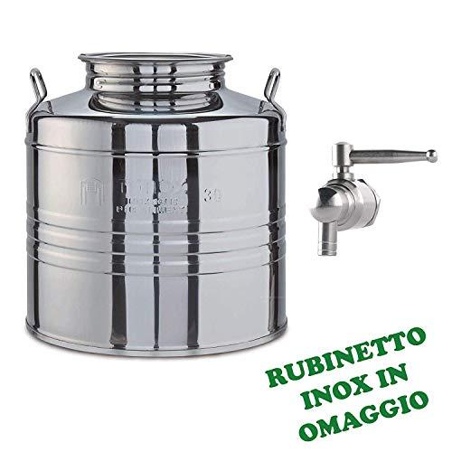 Milo srl Contenitore BIDONE Fusto Olio Acciaio Rubinetto Inox 18/10 Omaggio FUSTINO FUSTINI (30 LT)