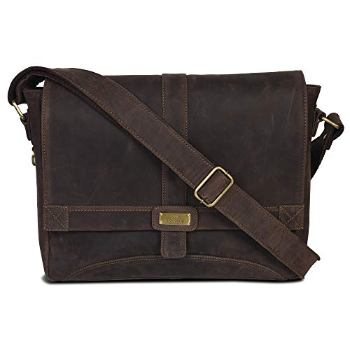 Genuine Leather Messenger Bag for Men and Women - 14 inch Laptop Bag for College Work Office by LEVOGUE (Brown Oily Hunter)