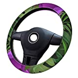 Tropical Plants Painting Seamless Background Vector Image_ Universal 15-inch silicone car steering wheel cover, suitable for women, durable and non-slip