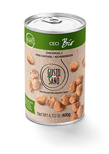 GUSTO SANO POIS CHICHES, pois chiche BIO. Conserves de legumes 6 Pack X 400 Gr: 2,4 KG. Legumes en conserve Biologique bouillie réhydratée et stabilisée par un processus thermique. Non-OGM