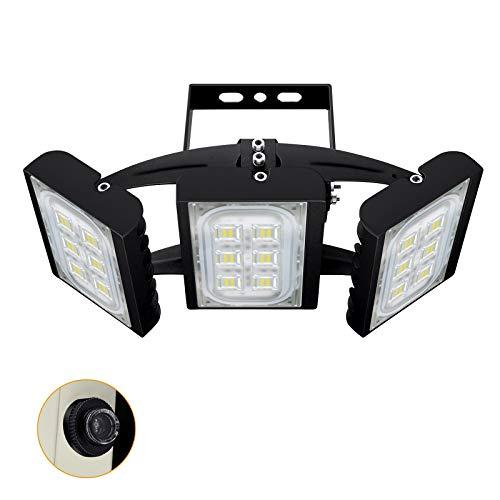 CHICLUX 90W 8100LM Sicherheitsflutlicht mit Fotozellen-Sensor, Einstellbarer IP66 Außenstrahler mit Dämmerungssensor, OSRAM LED-Chips, Tageslicht Weiß Wasserdichte Wandleuchte für Garage, Hof, Straße