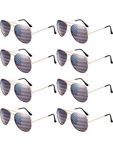 Norme 8 Stück Amerika Amerikanische Flagge Sonnenbrillen Metallrahmen Unisex Klassische Retro Patriotische Gläser für 4. Juli Nationalfeiertag Feier (Rose Goldrahmen)