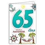 Age Mv 69-2039 Carte Anniversaire 65 ans Homme Femme motif Retraite Repos Vacances Palmiers Hamac Ancre Boussole Gouvernail Soleil