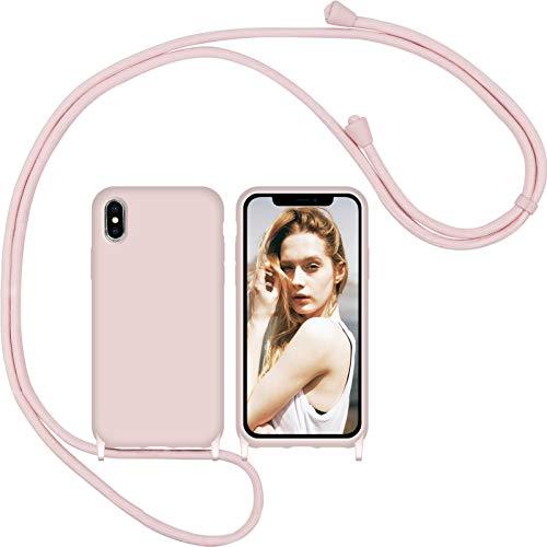Funda Silicona Líquida con Cuerda para iPhone X iPhone XS y 1 Pack Protector Pantalla, Carcasa Suave Silicona Case con Correa Colgante Ajustable Collar Correa de Cuello Cadena Cordón(Oro rosa)