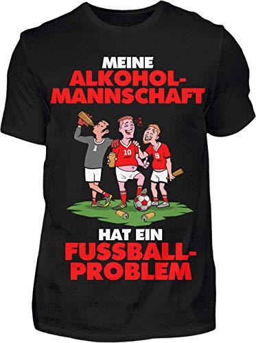 Meine Alkoholmannschaft hat EIN Fussball Problem - Premium Shirt - Das Kreisliga Shirt für alle Kreisliga Fußballer und Fans (XL, Schwarz)