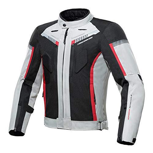 Heatile Motorrad Jacke Motorradjacke wasserdicht Winddicht mit Protektoren Jacke Für Roller Biker Touren,Weiß,L