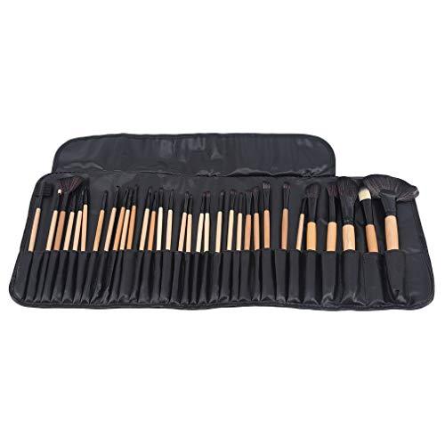 L_shop Pinceaux de Maquillage Set 32 PCS Professional Synthetic Synthetic Eye Cosmetic Blending Brushes,Couleur Bois