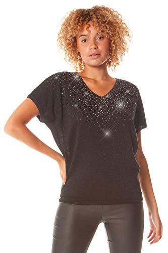 Roman Originals Camiseta de punto para mujer con cuello en V y detalle de diamante para mujer Negro 40
