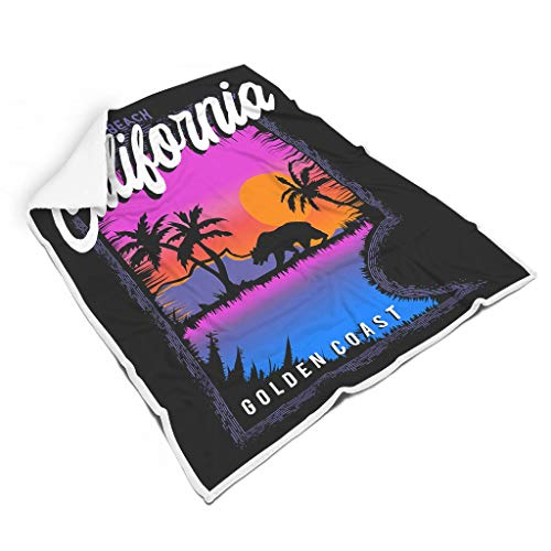 Hothotvery Manta de peluche califoránica, sueños de surf, playa, coco, estampado, tamaño grande, de felpa bohemia, para la mayoría de las personas, color blanco, 130 x 150 cm