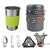 XHLLX Juego de utensilios de cocina para camping, 1 – 2 personas con estufa, vajilla, taza, olla antiadherente y sartenes ligeras.