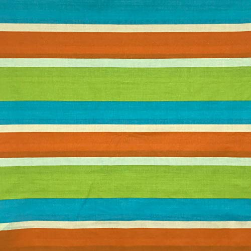 Kt KILOtela Tela por Metros de sábana Estampada - Algodón y poliéster - Retal de 300 cm Largo x 270 cm Ancho | Rayas horizontales - Naranja, Verde, Azul - 3 Metros