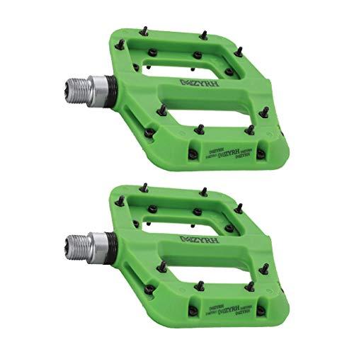 Injoyo Nylon Fiber 2 Bearing 9/16'MTB Pedales para Bicicleta con Plataforma Ancha Y Plana - Verde, 100 x 109 x 24 mm