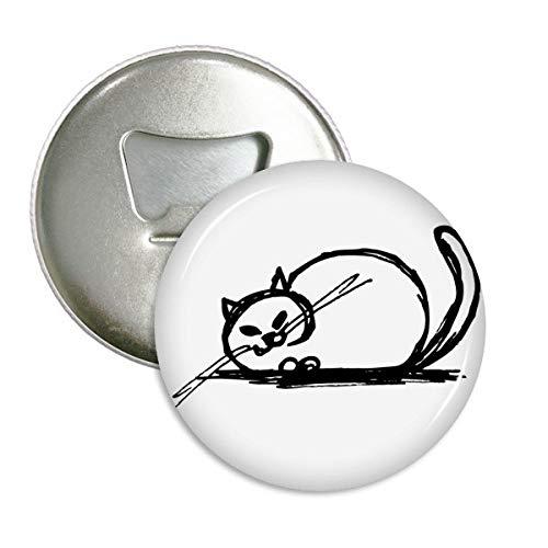 DIYthinker Curly Schwere Cat verrückt Linie Runde Flaschenöffner Kühlschrank Magnet Pins Abzeichen-Knopf-Geschenk 3pcs Silber