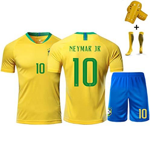 2018-19 Brasilien Nationalmannschaft Trikot # 10 Neymar JR, 11 P. Coutinho, 9 G. Jesus, Fußballtrikot Trainingshemd + Socken + Shorts, Mann/Kinder-#11-M