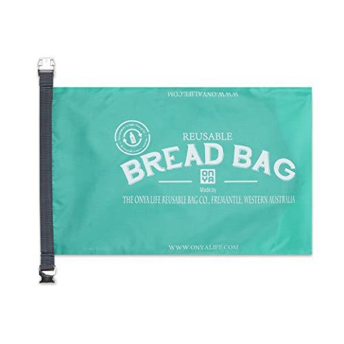 Onya Wiederverwendbare Brotbeutel zum Frischhalten von Brot, Aufbewahrungstasche für Lebensmittel, Aufbewahrungstasche für Baguette, Brot, Brötchen, plastik, aqua, 41x25x10cm