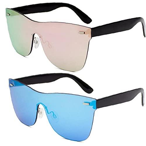 Ruluti 2pcs Gafas De Clásicas De Moda para Hombres Y Mujeres con Protección Uv400 Gafas De Sin Montura Aire Libre
