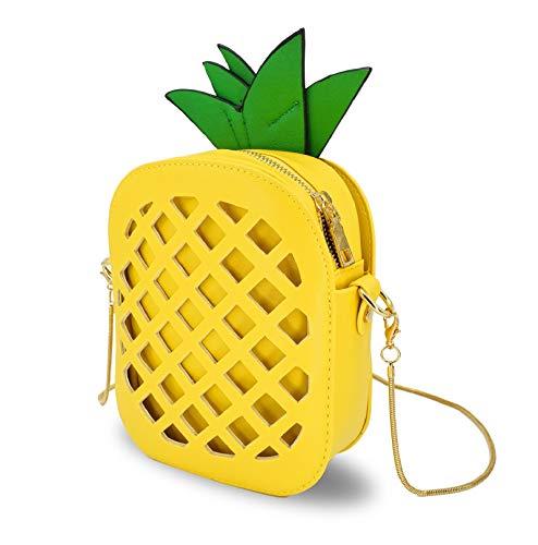 OFKPO Ananas Form Umhängetasche Aus Gute Qualität PU,Damen Crossbody Tasche mit Reißverschluss(Gelb)
