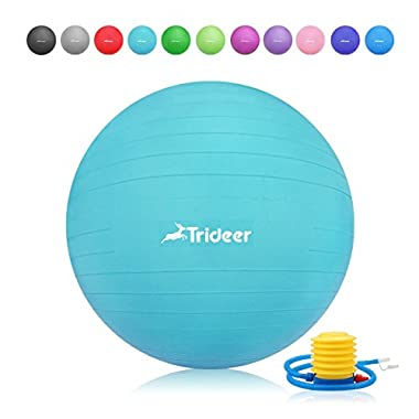 Trideer Exercise Ball (45-85cm) Extra Thick Yoga Ball Chair, Anti-Burst Heavy Duty Stability Ball Supports 2200lbs, Birthing Ball with Quick Pump (Office & Home & Gym) (Turkis, 65cm)