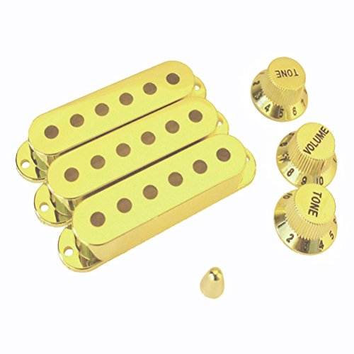 SUPVOX Guitar Pickup Covers Knobs Switch Tip Set for Stratocaster Replacement Accessory Kit (Gold)
