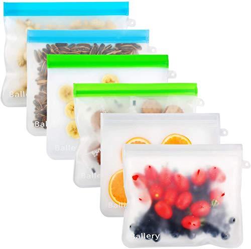 Ballery Bolsas Reutilizables para Almacenamiento de Alimentos, 100% a Prueba de Fugas y Prueba de congelamiento Bolsas de conservación