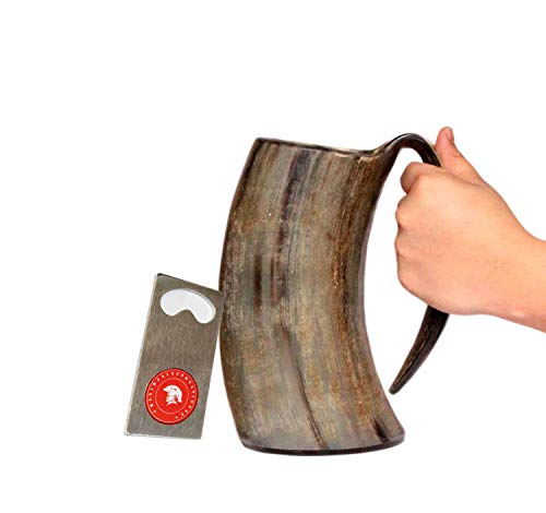 5MoonSun5's vikings Hand Made 36oz - 1 LITER - Natural Finish Drinking Horn Tankard Game of Thrones With This Large Ale Stein - A Perfect Present For Real Men (HBM-578)