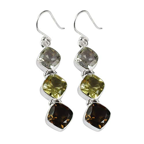 Silver Palace Natural Smoky Quartz Gemstone 925 Sterling Silver Drop Dangle Three Stone Handame Earrings For Women & Girls