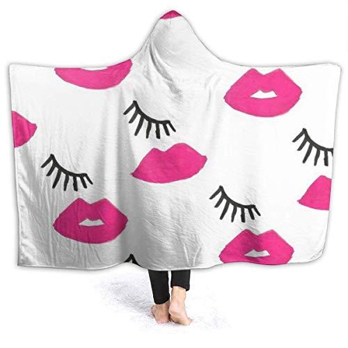 AEMAPE Sexy Red Lips Eyelashes Manta con Capucha para Hombre Manta de Franela súper Suave Sudadera con Capucha Bata con Capucha para Vestir Capa con Capucha para Ver televisión en el SPA 60 'x 50'
