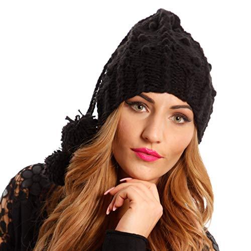 YC Fashion & Style Damen Mütze Haarband oder Schlauch Schal Herbst Winter Bommel, Farbe:Schwarz, Größe:One Size