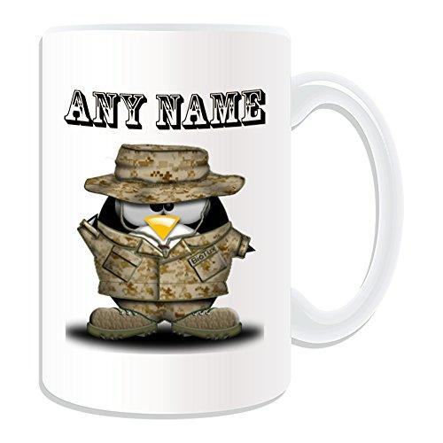 De regalo con mensaje personalizado - taza con sombrero de soldado tamaño grande (Pingüino disfraz infantil de diseño de, blanco) - el nombre/mensaje en el diseño de - kimono de ejército las Fuerzas Militares fórmula armado